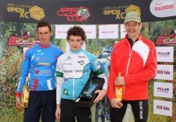 De gauche à droite : Yannick MARIE (UC Gradignan) Paul MATHOU (Creuse Oxygène) Christophe BASSONS (Team TRAID)