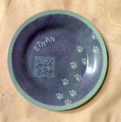 assiette le chat - bleue