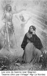 Gillot Saint-Evre : Jeanne d'Arc : Charles VII (le Victorieux) : Jeanne d'Arc, en présence de Charles VII, répond aux prélats qui l'interrogent, en annonçant sa mission et les visions qui la lui ont révélée - Delacroix - Musée du Louvre