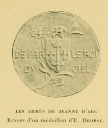 les armes de jeanne d'arc - revers medaillon de dropsy