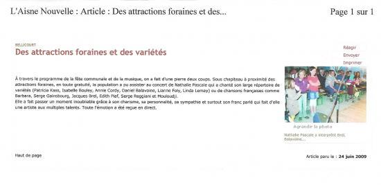 LES NOUVELLES DE L'AINE-CONCERT EXTERIEUR TOUT PUBLIC A ETREILLERS