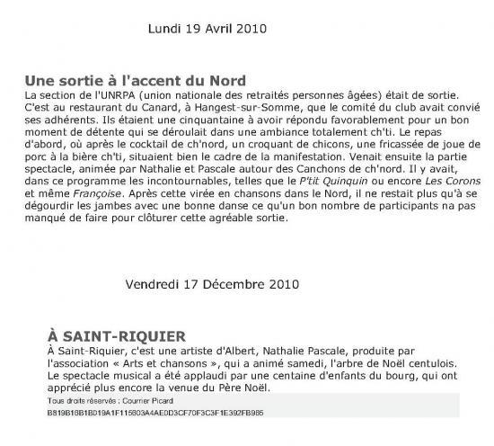 """LE COURRIER PICARD-SPECTACLE """"LES CANCHONS DE CH'NORD"""" et ST RIQUIER """"LE PETIT CABARET DES MÔMES"""""""