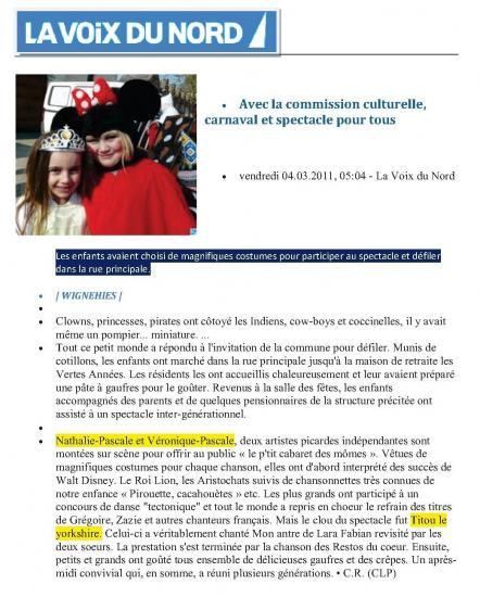 """LA VOIX DU NORD 2011-SPECTACLE """"LE PETIT CABARET DES MÔMES..."""