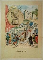 gravure couleur JEANNE D'ARC DOMREMY 1897