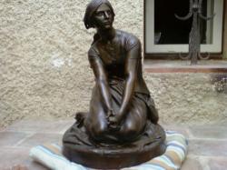 statues bronze jeanne d arc h chapu f barbedienne de domremy poids 15 k,hauteur environ 45cm .