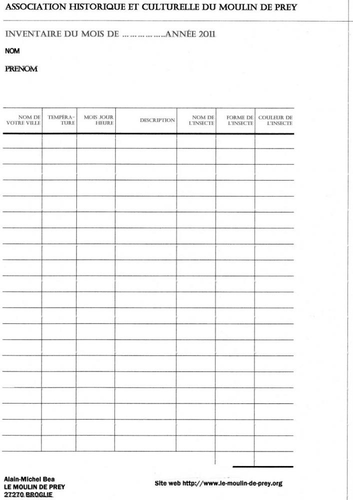 Fiche de recensement des insectes 2011