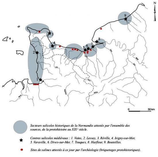 Fig. 1 – Carte des secteurs salicoles et des principales salines médiévales connues à ce jour en Normandie.