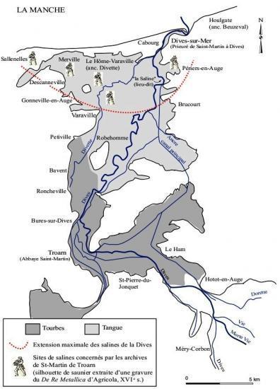 Fig. 2 – Localisation des salines médiévales de la basse Dives.