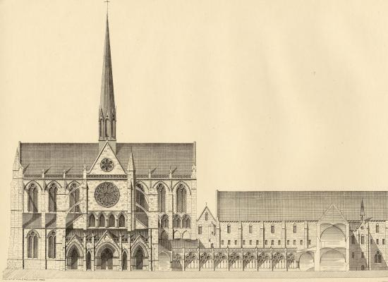 Dessin de l'abbaye avant la destruction de l'eglise.