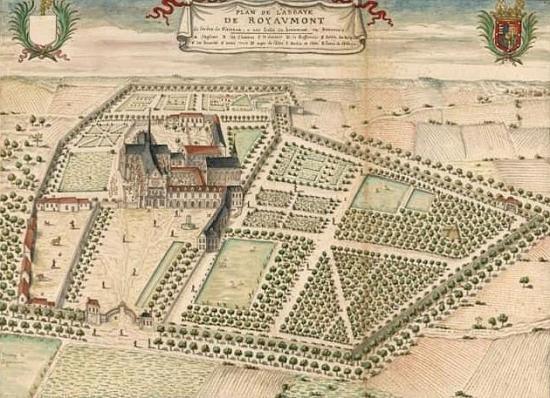 Vue d'ensemble avant la révolution.L'église etait immense par rapport aux reste des bâtiments.