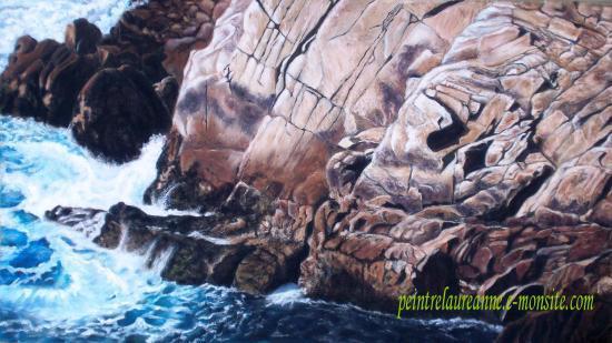 dessin au pastel sec paysage de falaise et de mer