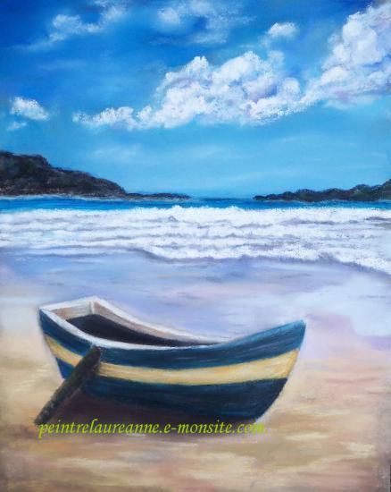 dessin au pastel sec paysage le barque sur le sable