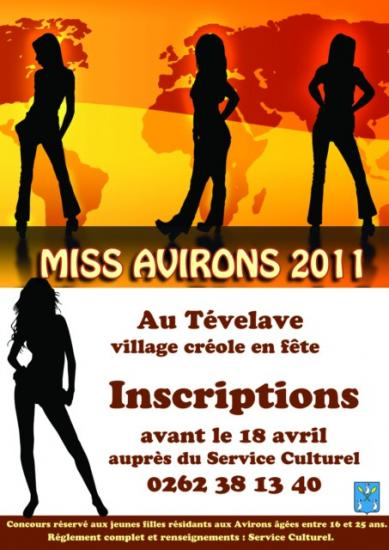 Inscription à l'élection de miss Avirons 2011