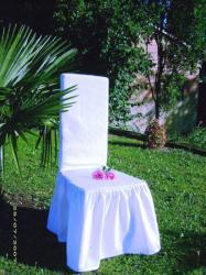 Housse de chaise froncée en piqué de coton