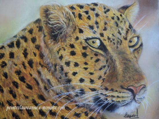 dessin au pastel sec animaux léopard