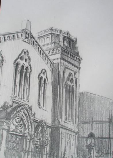 la synagogue. Bordeaux. Crayon 2B. 2011