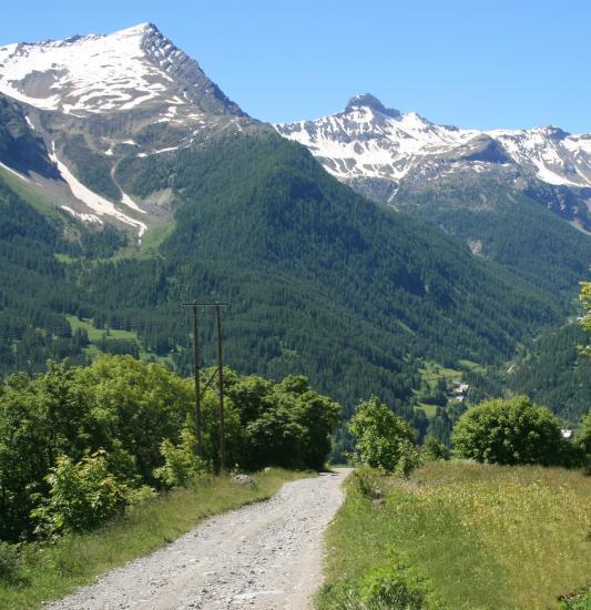 Vue sur la montagne l'été depuis le village des Estaris