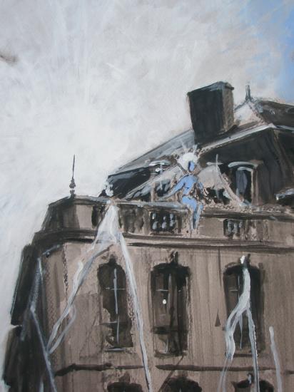 L'intendange.   Détail des flamants à la Comédie . Bordeaux 201. Format 60x80.