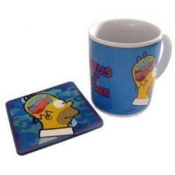 Tasse Homer Genius at work avec sa soucoupe