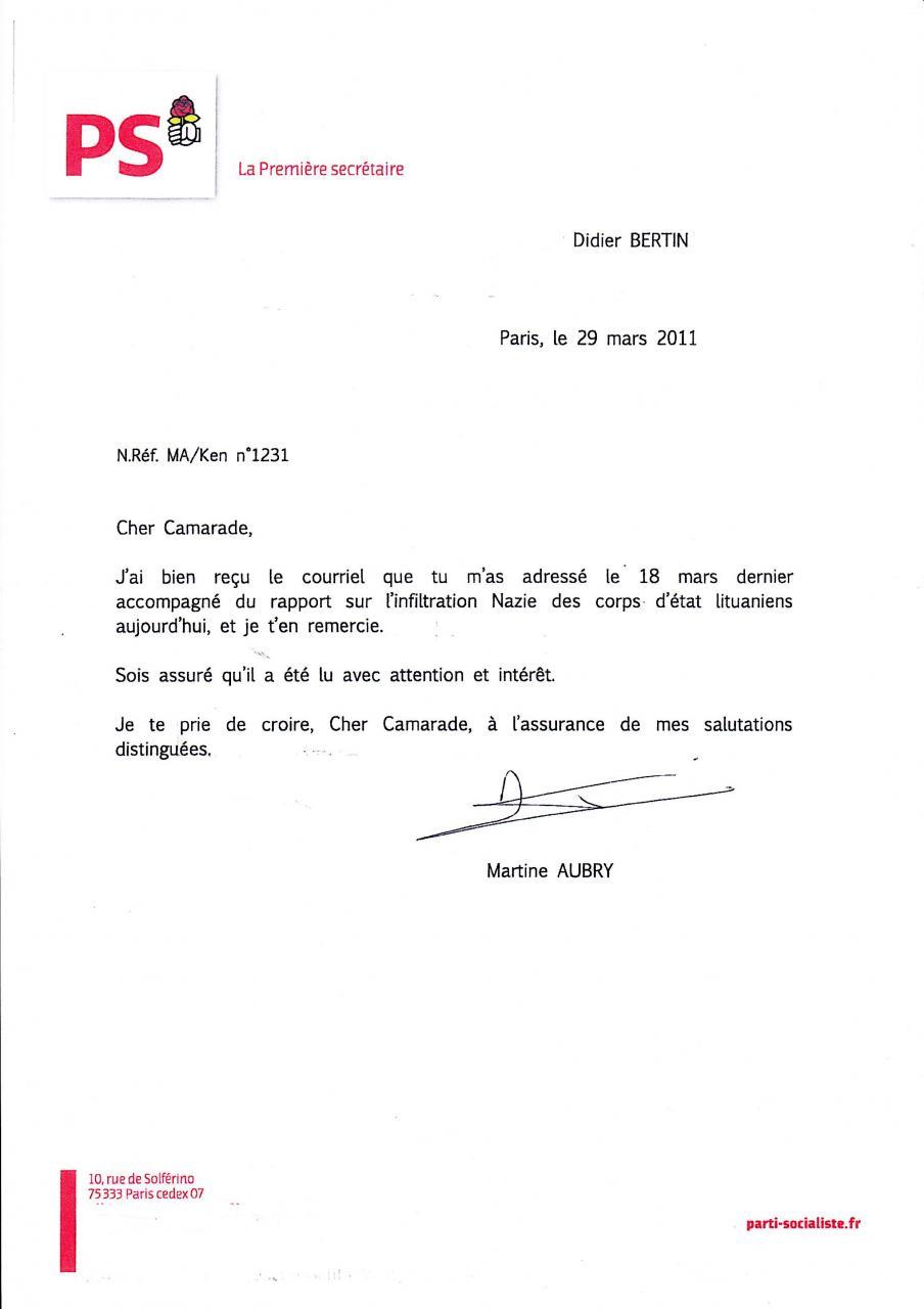 lettre de demission dans le transport Lettre Martine Aubry 29.03.11 lettre de demission dans le transport