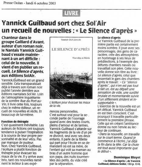 Presse Océan - 6 octobre 2003