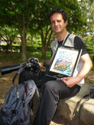 Mohammad, his paintings and his huuuuge camera! - Kyoto