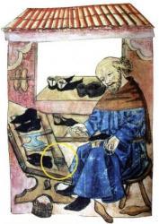 Représentation d'un cordonnier à sa table de travail en 1476 à Nuremberg