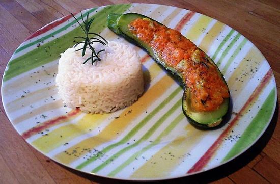 Courgette farcie au roquefort et à la carotte