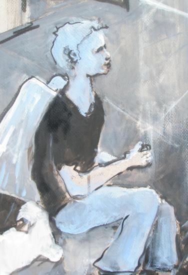 le contrebassiste. Galerie Tatry. Bordeaux.Détail ange noir . Format 60 x 80. 2011