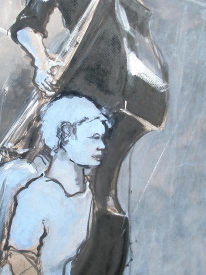 le contrebassiste? détail ange bleu. Format 60 x 80. 2011