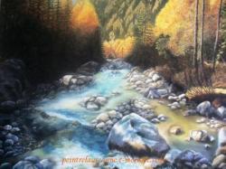 dessin paysage automne au pastel sec