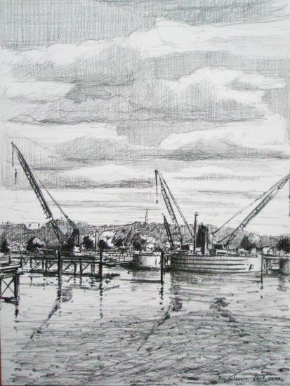 Chantier du pont Bacalan-Bastide. Crayon 2 B. Format 24 x 32.Août 2010.