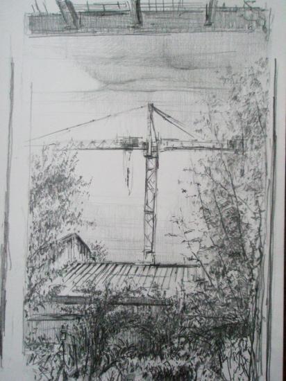 La menace. grue de la Cogedim sur les Chartrons. Crayon 2B. Format 24 x 32. Août 2010.