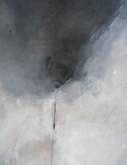 Les passants de lune . Détail: le fil noir. Format 60 x 80. 2011.