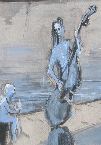 les passants de lune.  détail: l'ange  et la contrebasse. Format 60 x 80. 2011.