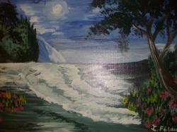 Rencontre entre la lune et la mer