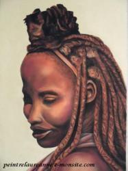 portrait dessin au pastel sec de femme africaine