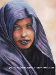 portrait dessin au pastel sec d'une femme avec un voile violet