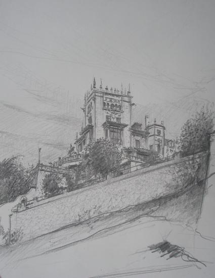 Casa Botin . Santander. format 24 x 32 crayon 2B. Janvier 2011.
