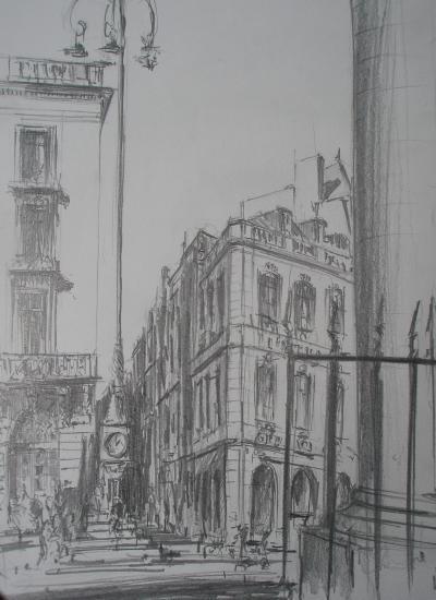 Place de la Comédie Bordeaux. Crayon 2B. Format 24x32. Mars 2011.