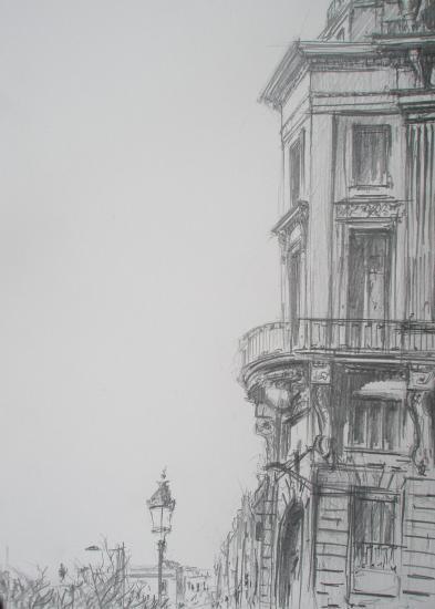 Rue de l'esprit des lois. Bordeaux. crayon 2B. format 24 x 32.