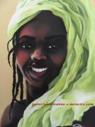 portriat dessin d'une femme africaine au pastel sec