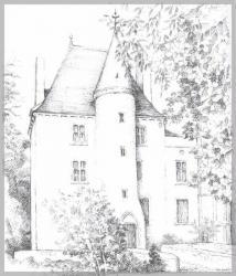 """Le château de la Motte. Dessin de Marie-Noëlle Goffin, in """"Châteaux, fiefs, mottes, maisons fortes et manoirs en Bourbonnais"""" sous la direction de René Germain."""
