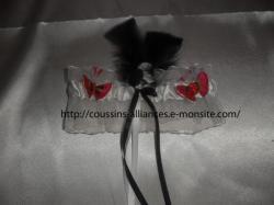 jarretière blanc noir papillons