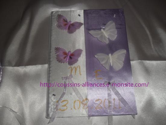 livre d'or blanc parme papillons