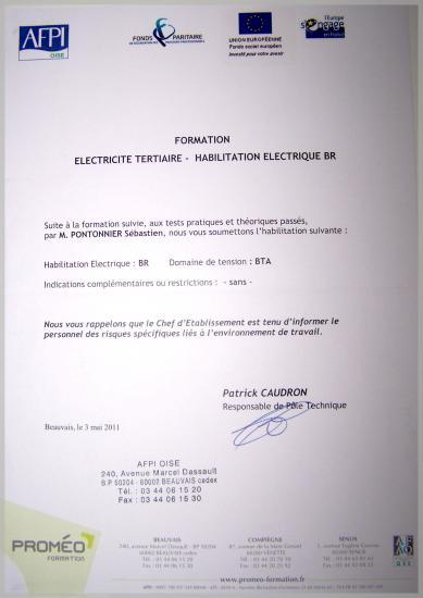AGREEMENT ELECTRICITE GENERALE