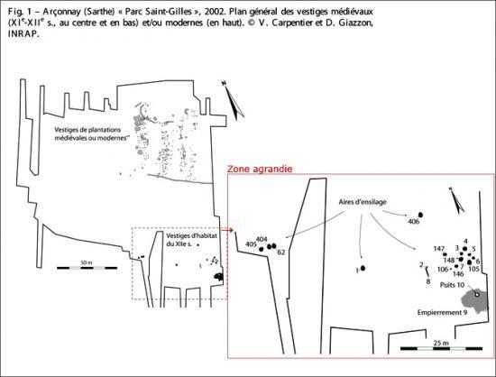 Plan général des vestiges médiévaux (XIe-XIIe siècles) et/ou modernes mis au jour en  2002 au lieu-dit « Parc Saint-Gilles » à Arçonnay (Sarthe).  © V. Carpentier et D. Giazzon, Inrap