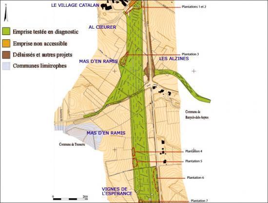 Localisation des différentes anciennes plantations de vigne reconnues en sondage sur la commune de Banyuls-dels-Aspres. © F. Audouit et P. Sarazin, Inrap