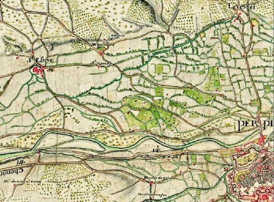 Extrait d'une carte manuscrite de 1699 représentant l'environnement du site. © SHD MR - 40/1083- A (3e soin) f – 243