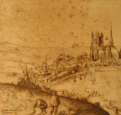 Le domaine viticole de Meaux au début du XVIIe siècle, vue cavalière de Joachim Duviert. Les vignes des Nivelles se trouvent en arrière-plan, à gauche du gibet « P ».  © Médiathèque de Meaux